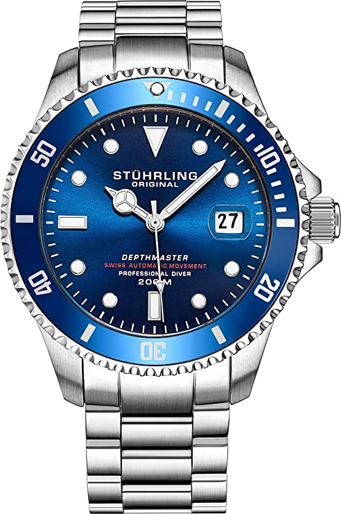 "Mens Swiss Stuhrling original Stainless Steel watch"" DEPTHMASTER"" Dive Watch Dive Watch, 200 Meters Water Resistant, Brushed and Beveled Bracelet with Divers Safety Clasp and Screw Down Crown"