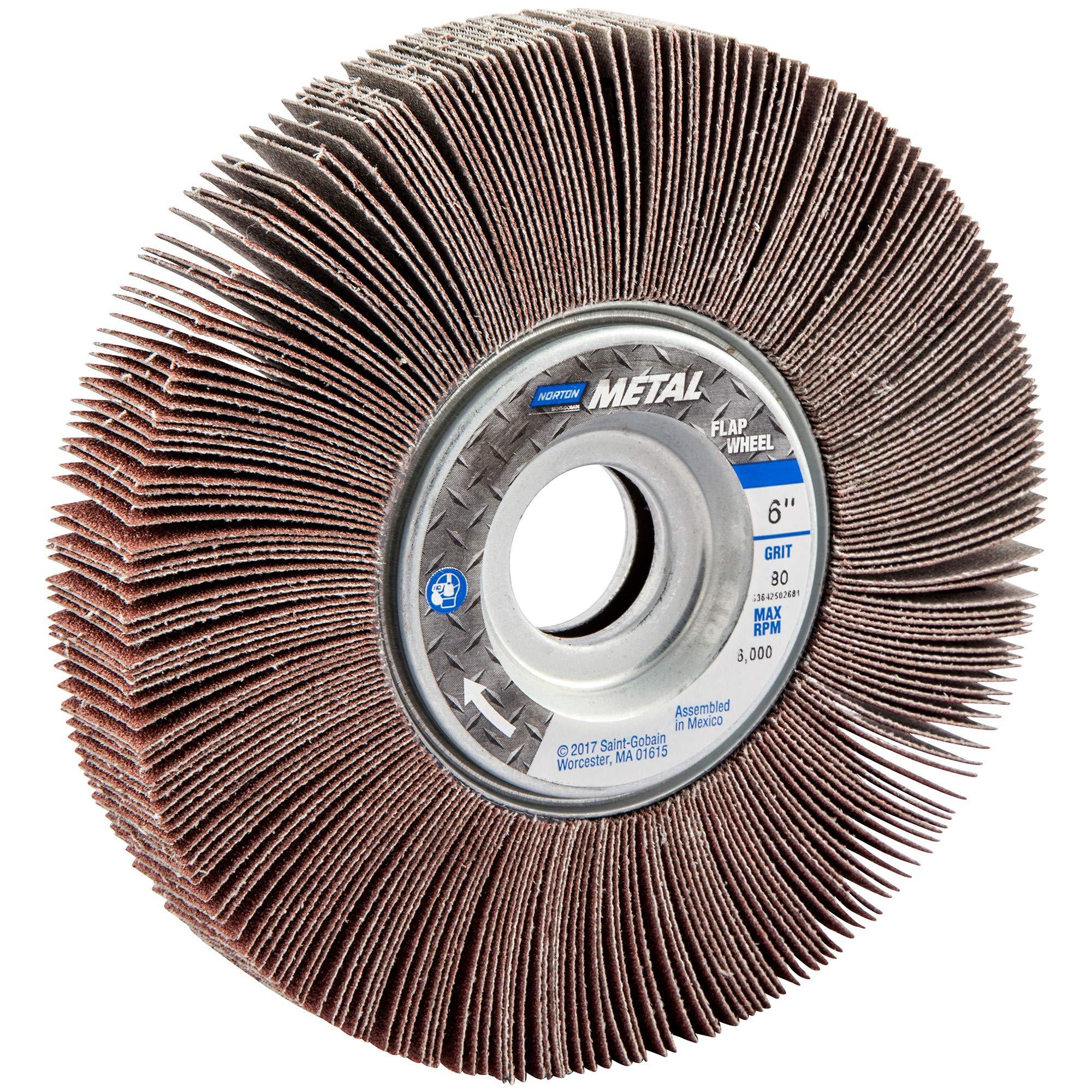 Norton Metalite R265 Abrasive Flap Wheel, 1'' Arbor, Round Hole, Aluminum Oxide, 6'' Dia., 1'' Face Width, Grit 80, 6200 Max RPM (Pack of 1)