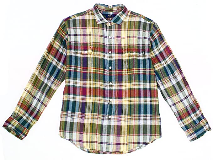 285f3936f Image Unavailable. Image not available for. Color  Polo Ralph Lauren Linen  Plaid Regular Fit Button-Down Work Shirt ...