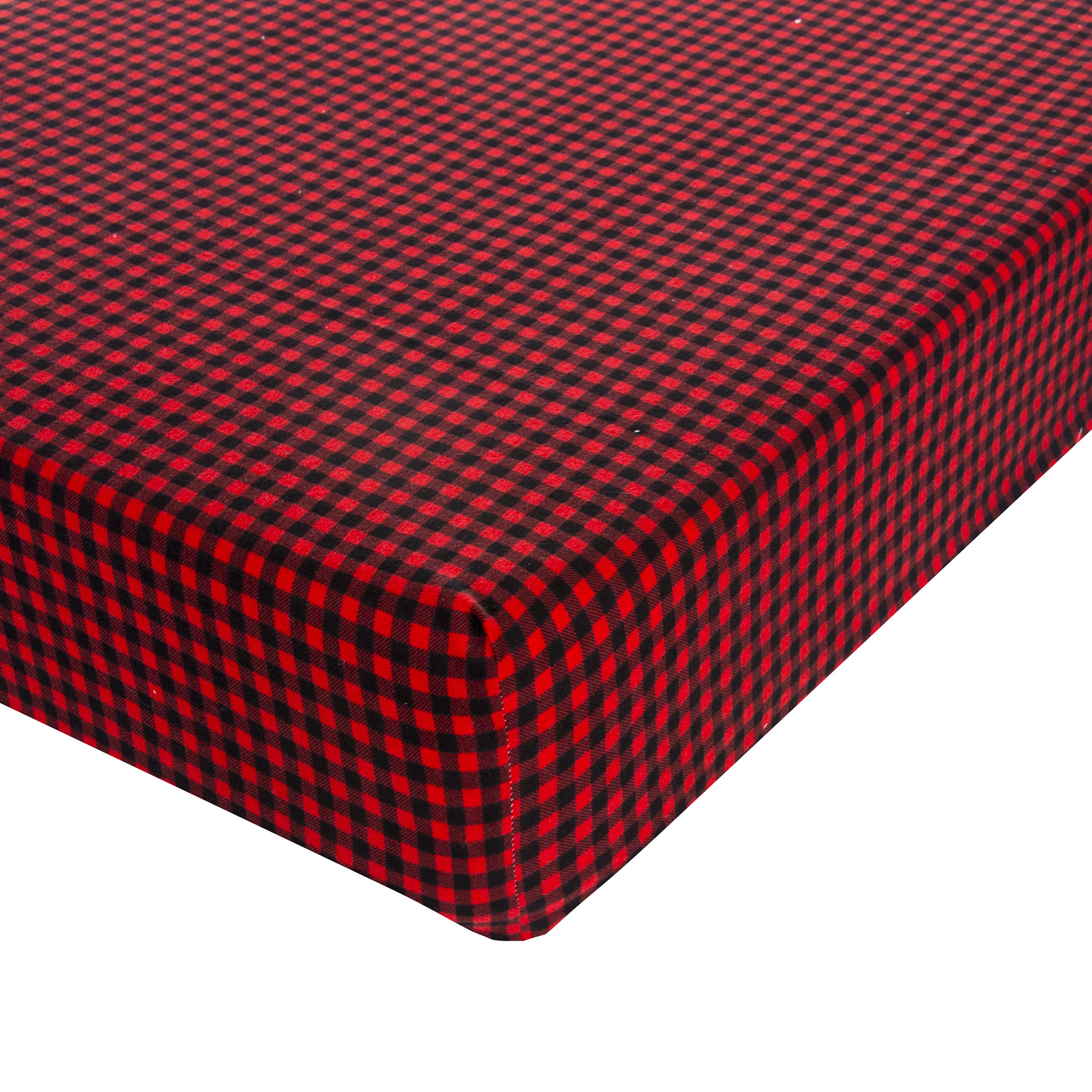 Glenna Jean Flannel Check Crib Sheet Fitted 28''x52''x8'' Nursery Standard