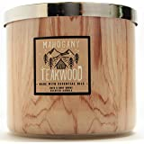 Bath and  Body Works 3-Wick Scented Candle in Mahogany Teakwood with Wood Grain Design 14.5 Ounce