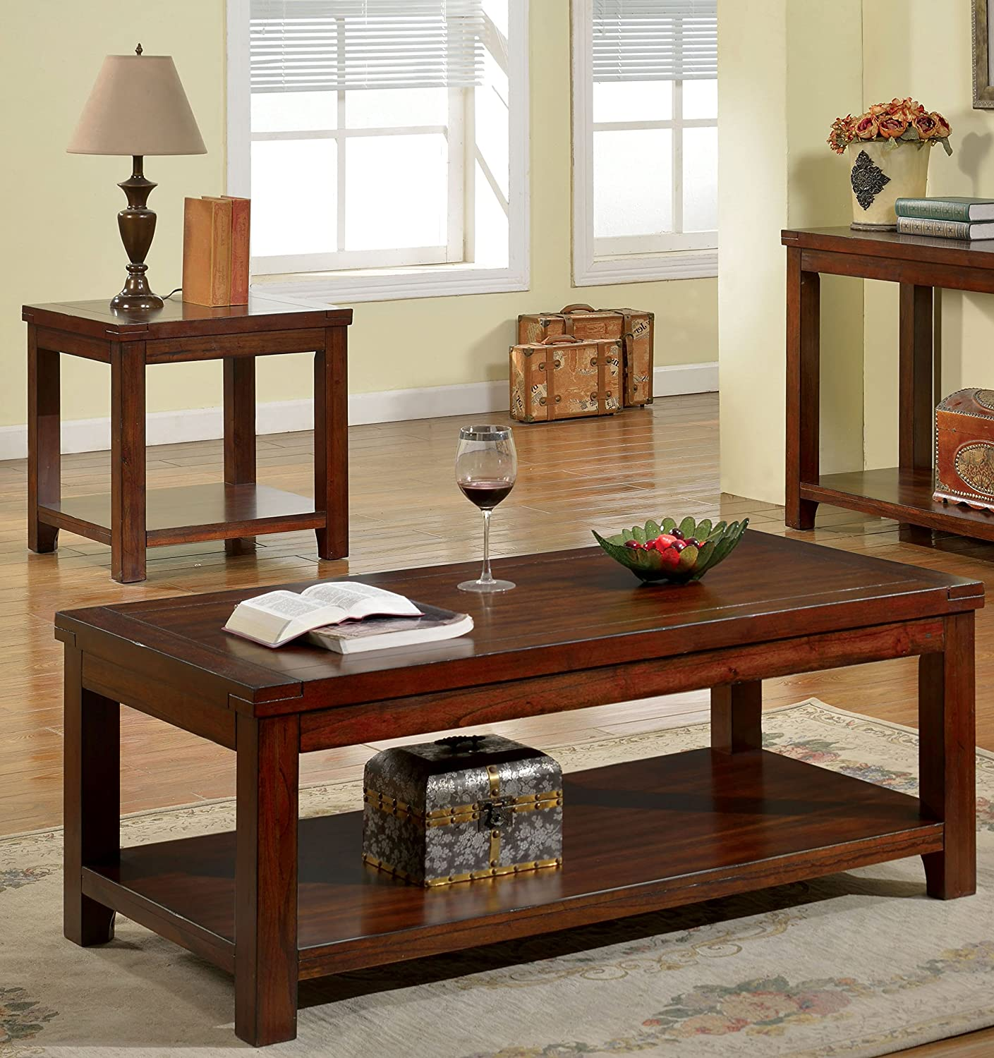 Furniture of America Torrence 2-Piece Transitional Accent Tables Set, Dark Cherry