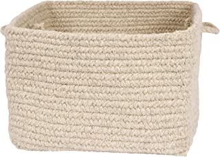 "product image for Colonial Mills Chunky Natural Wool Basket, 14""x14""x10"", Light Gray"