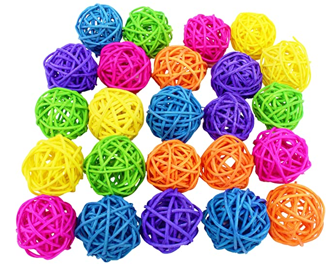 Bonka Bird Toys Vine ball Small Bird Parrot Toy Part craft parrot cage toys cages natural pet (Pack 24)