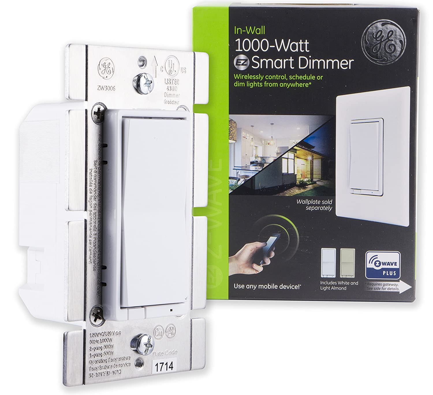 Ge Z Wave Plus 1 000 Watt Incandescent Halogen Bulbs Only In Wall Fitting Dimmer Switch To Old Electrical Wiringdimmerinstructionsjpg White Light Almond Paddles Zwave Hub Required Works With Smartthings Wink Alexa 14299 1000w Smart Multi