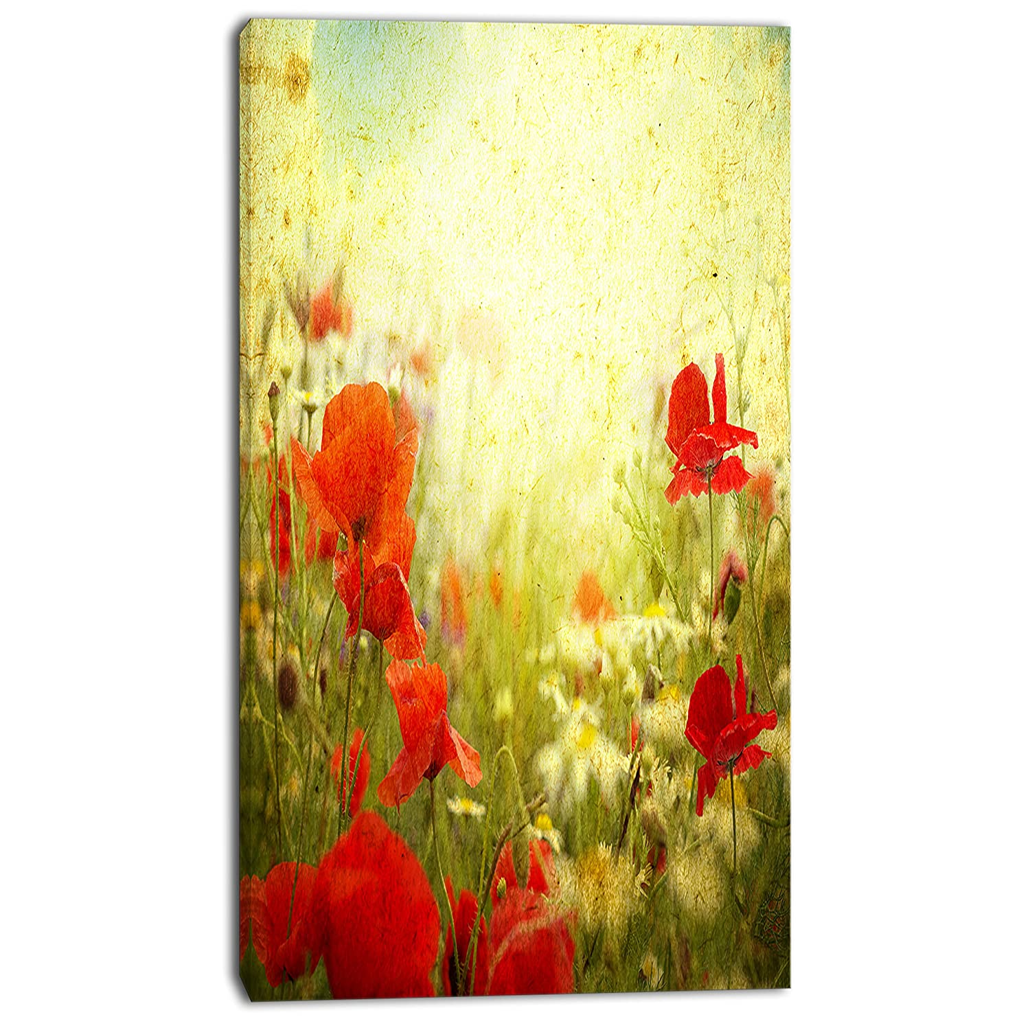 Amazon.com: Design Art Grunge Background with Red Poppies Floral on ...