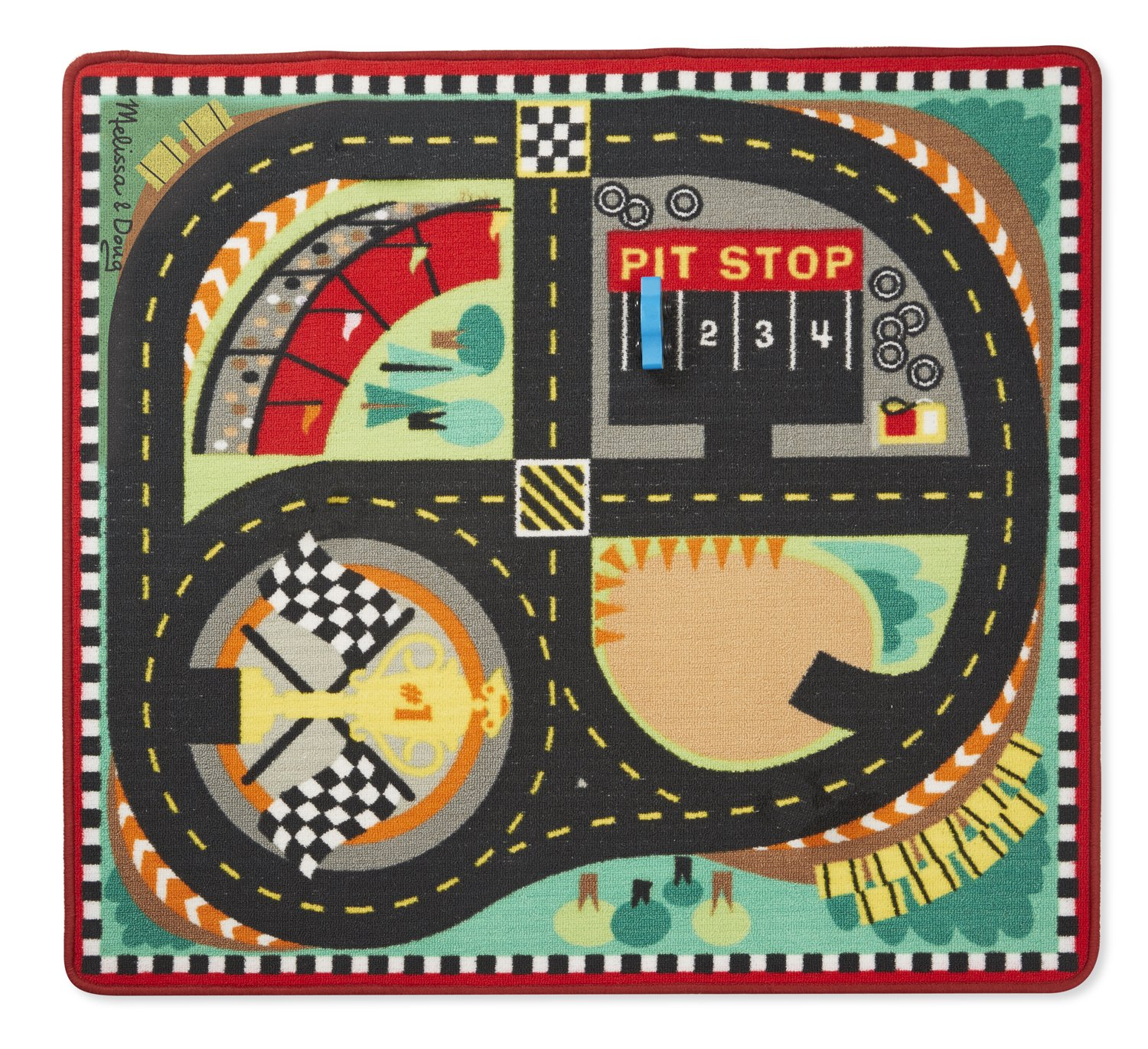 39 x 36 inches Melissa /& Doug Round The Speedway Race Track Rug with 4 Race Cars