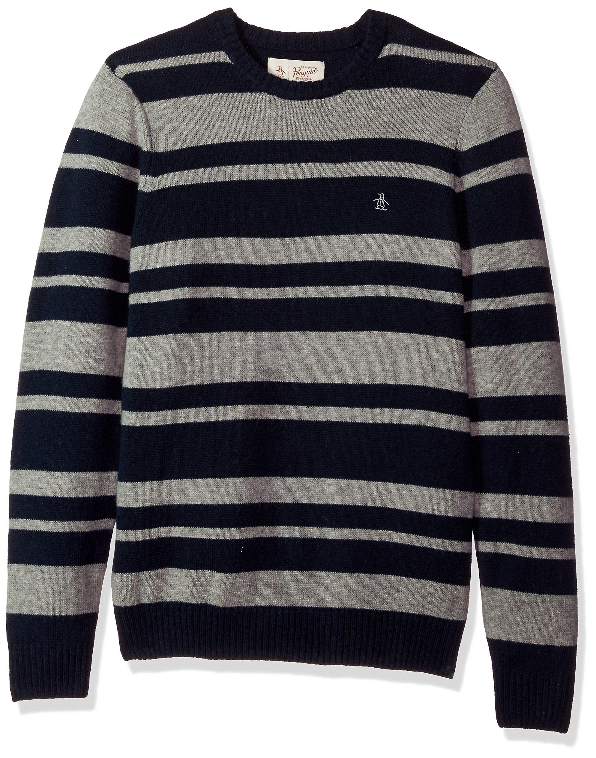Original Penguin Men's Striped Wool Crew Sweater, Dark Sapphire, Medium