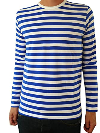 Amazon.com: Mens Blue White Striped Breton Long Sleeve Mod Tee T ...