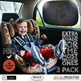 """Sun Shade for Car Window XL (3 Pack) - Extra Protective UPF 50+ Protection - Car Window Shade for Baby and Kids - Blocks over 99% harmful UV Rays - Strong Static Cling - 21""""x14"""""""