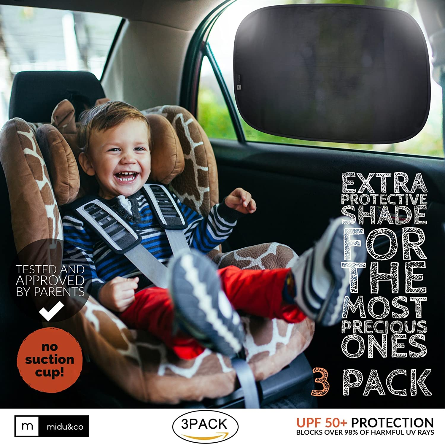 "Sun Shade for Car Window XL (3 Pack) - Extra Protective UPF 50+ Protection - Car Window Shade for Baby and Kids - Blocks over 99% harmful UV Rays - Strong Static Cling - 21""x14"" MIDU&Co 