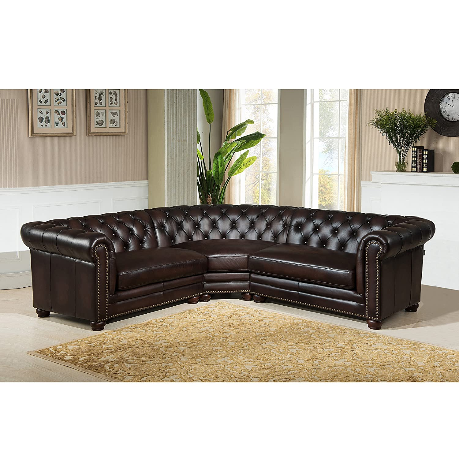Amazon Amax Leather Kennedy 100% Leather 3 Piece Sectional