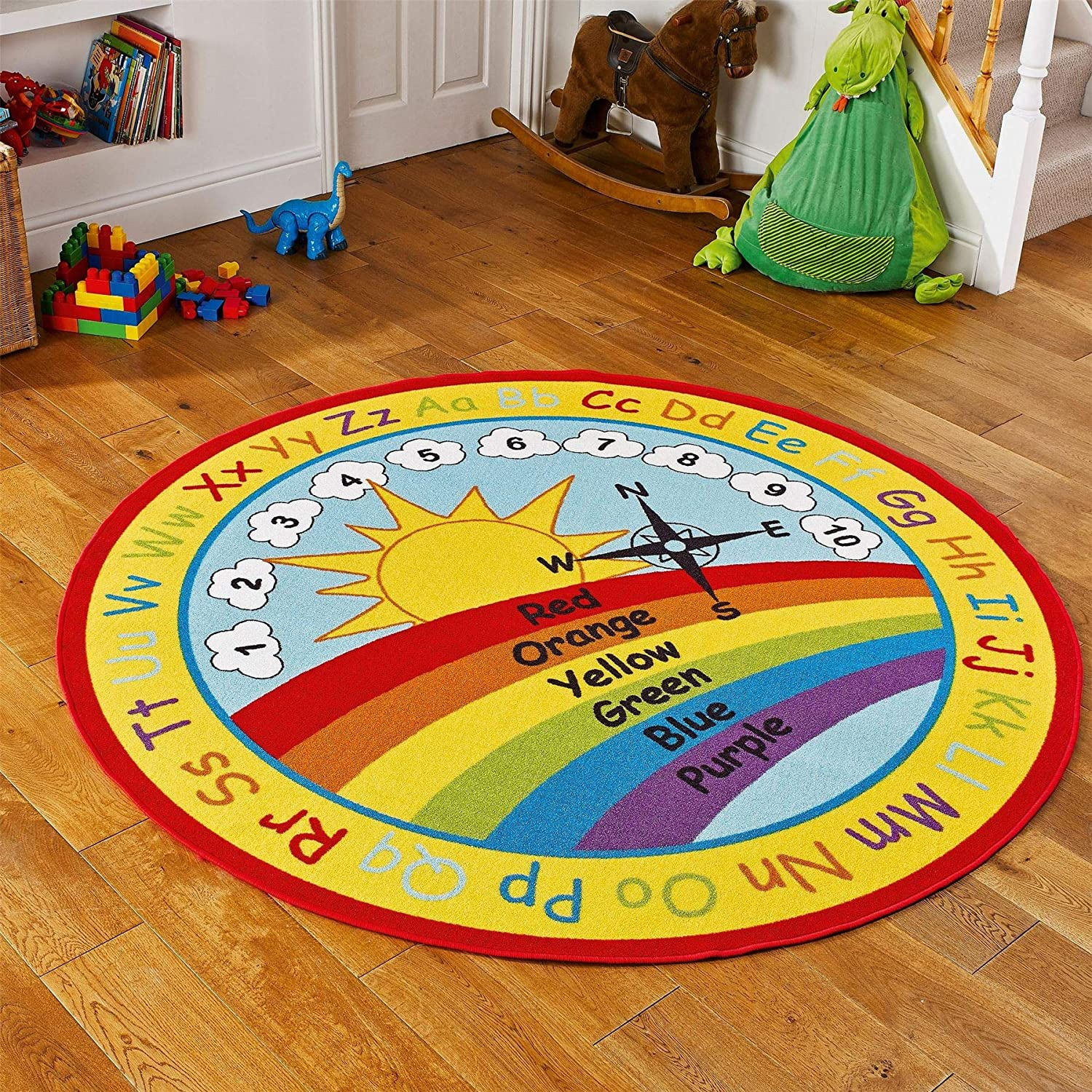 Numbers and Alphabet Round Rugs For School Classrooms Bright Large and Small Kids Circular Rug Childrens Nurseries and Play Areas Nursery Educational Learning Rainbow Colours
