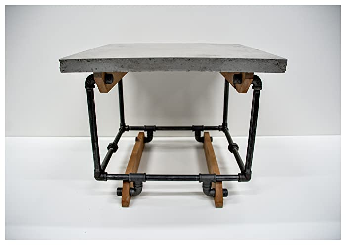 Side Table, End Table, Concrete Top With Gas Pipe And Knotty Alder Base