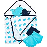 "Gerber 4-Piece Hooded""26 x 30"" Towel and 9""x 9"" Washcloth Set, Whale"