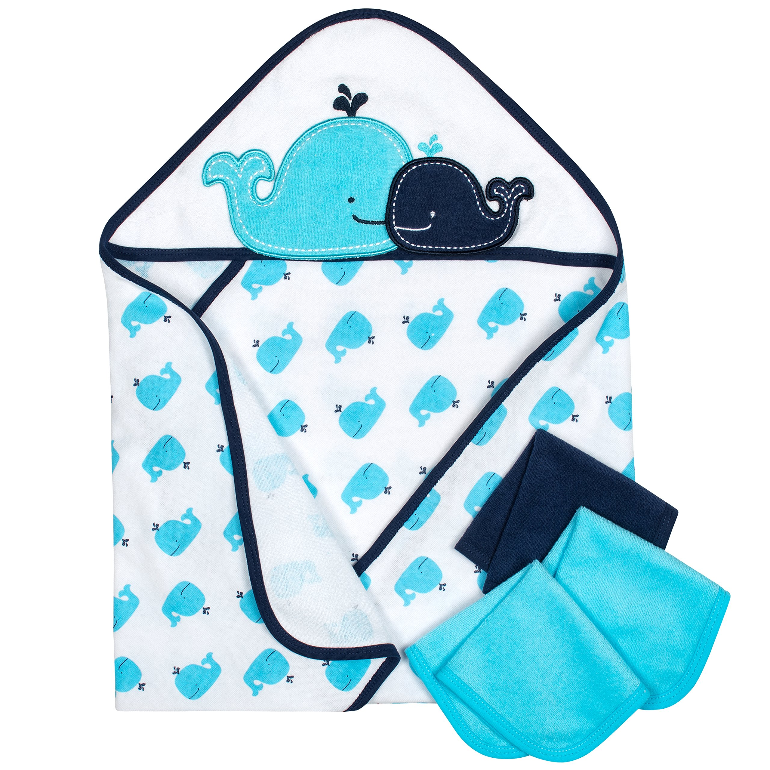 Gerber 4-Piece Hooded 26 x 30 Towel and 9''x 9'' Washcloth Set, Whale