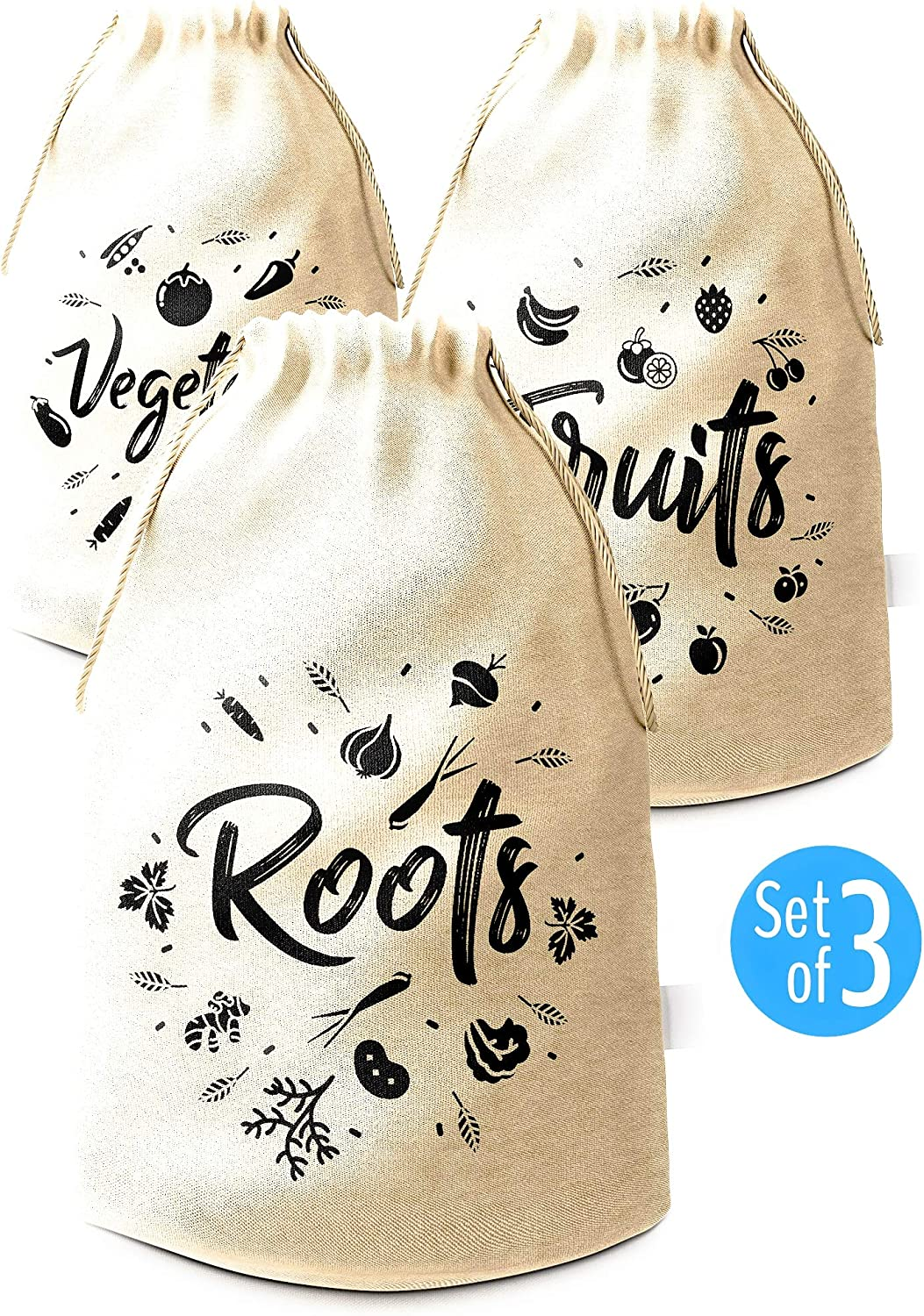Reusable Produce Bag 3 Packs Cotton Muslin Bags with Drawstring Natural color (7.5 Х 12.5 inches) by Pouch