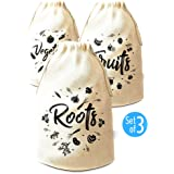 Reusable Produce Bag, 3 Packs Cotton Muslin Bags with Drawstring, Natural color (7.5Х13 inches) by Pouch