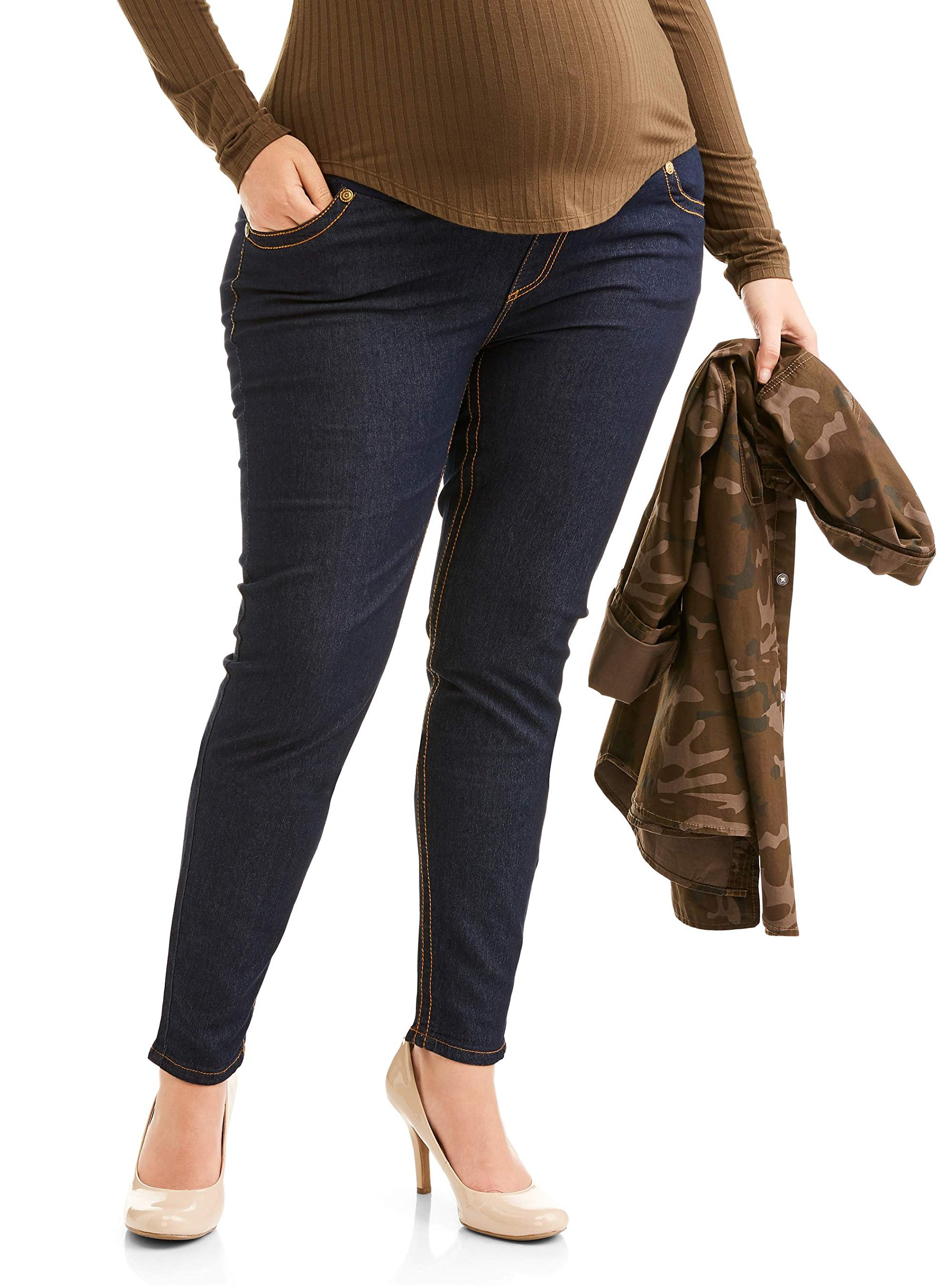 RUMOR HAS IT Maternity Embroidered Skinny Over The Belly Jeans (Large, Rinse)