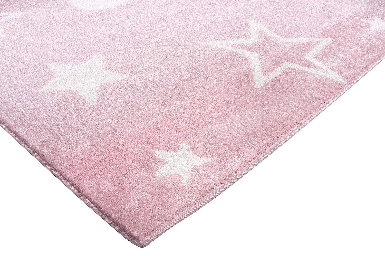 Perfetto per la Camera dei Bambini o per la Camera dei Ragazzi. Tappeto per Bambini con Stelle Pelo Corto CarpetForYou Happy Star Pink Modern