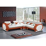 Vig Furniture 7392 Brown & White Leather Sectional Sofa