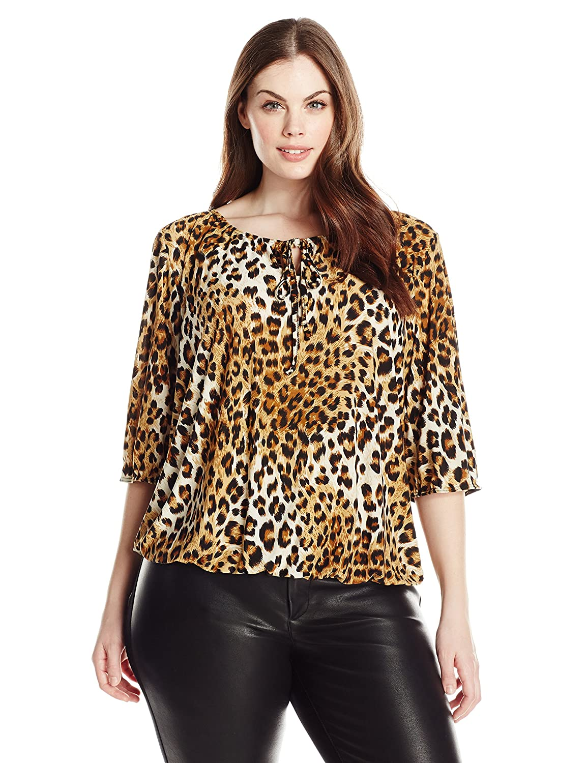 Star Vixen Women's Plus-Size Elbow Sleeve Elastic Hem Peasant Top , Leopard, 1X