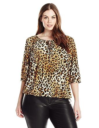 b84c1fe40a8 Star Vixen Women s Plus-Size Elbow Sleeve Elastic Hem Peasant Top ...