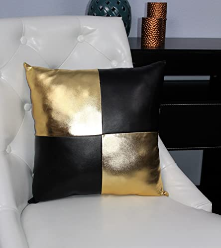 Amazoncom Black And Gold Accent Decorative Faux Leather Pillow