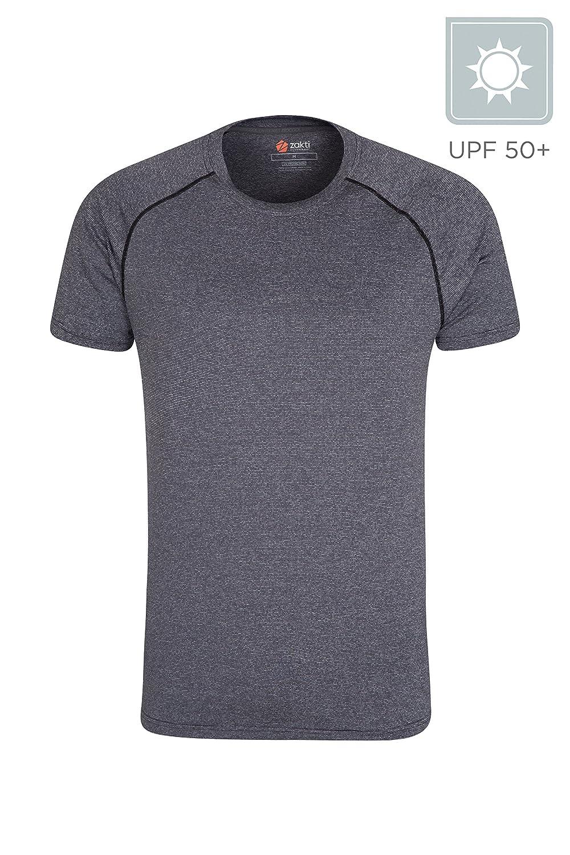 Mountain Warehouse Te Rayada Mens de IsoCool Agra - Camisa UV de la protecció n de UPF30+, Camiseta Ligera, aprisa Seca, Tapa de Breathable - para Viajar