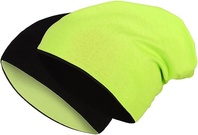 Gorro reversible 2 en 1 barato de color amarillo flúor