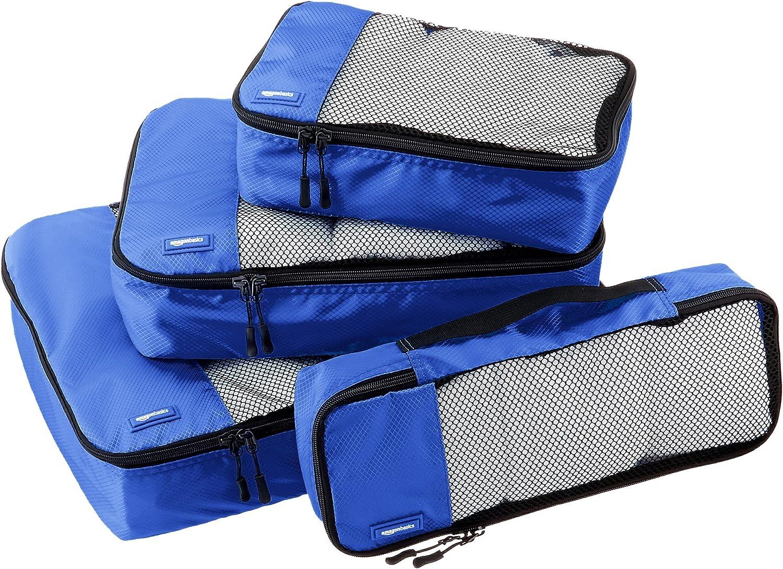 AmazonBasics - Bolsas de equipaje (pequeña, mediana, grande y alargada, 4 unidades), Azul
