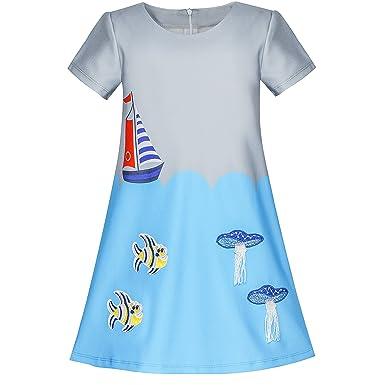 b1bcc9ccf4efc Sunny Fashion Robe Fille Gris Bleu Brodé Méduse Poisson Clown A-Ligne  Habiller 4-10 Ans  Amazon.fr  Vêtements et accessoires