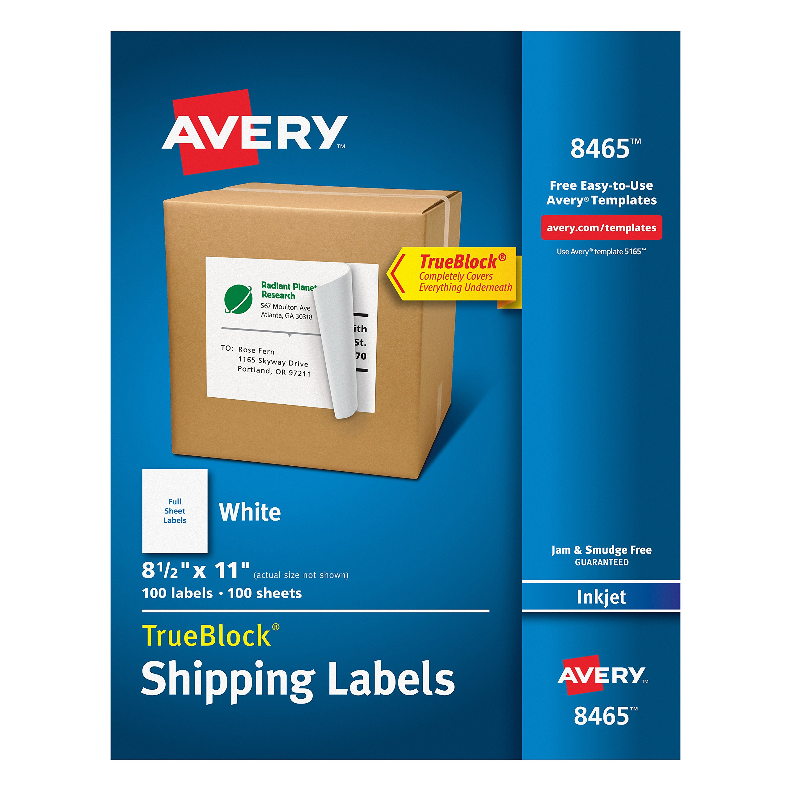 Avery Shipping Address Labels, Inkjet Printers, 100 Labels, Full Sheet Labels, Permanent Adhesive, TrueBlock (8465)