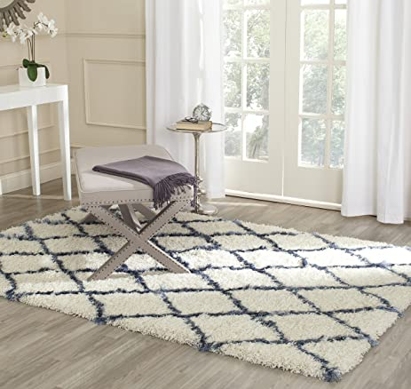 safavieh moroccan shag collection msg343c ivory and blue area rug 4u0027 x