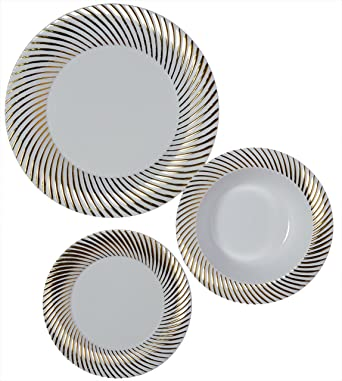 Party Joy 225-Piece Plastic Dinnerware Set | Swirl Collection | (75) Dinner  sc 1 st  Amazon.com : heavy duty plastic dinner plates - pezcame.com