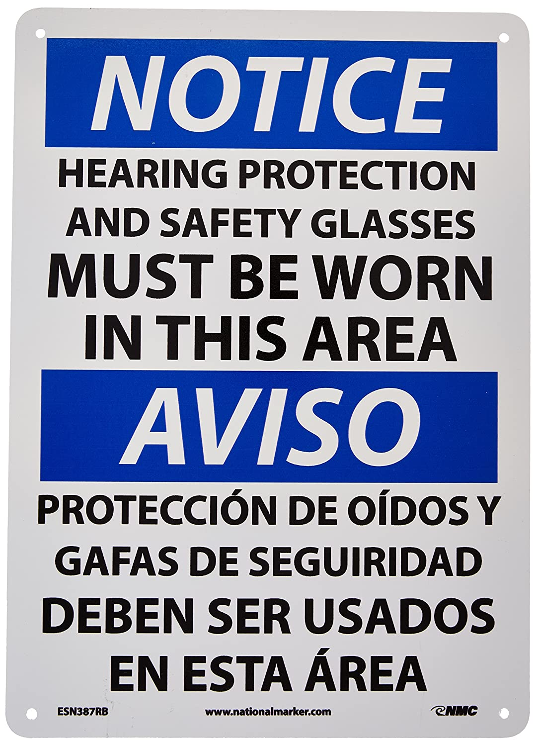 """NOTICE SAFETY GLASSES AND EAR PROTECTION REQUIRED SIGN 10/"""" X 14/"""" RIGID PLASTIC"""