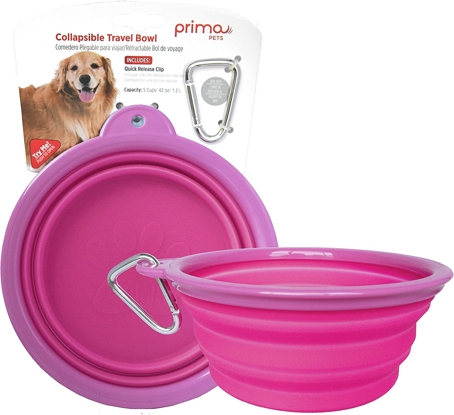 Prima Pets Collapsible Silicone Food & Water Travel Bowl with Clip for Dog and Cat, Small (1.5 Cups) & Large (5 Cups)