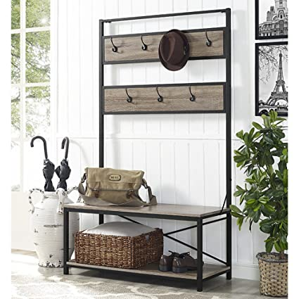 WE Furniture Industrial Metal And Wood Hall Tree In Driftwood   72u0026quot;