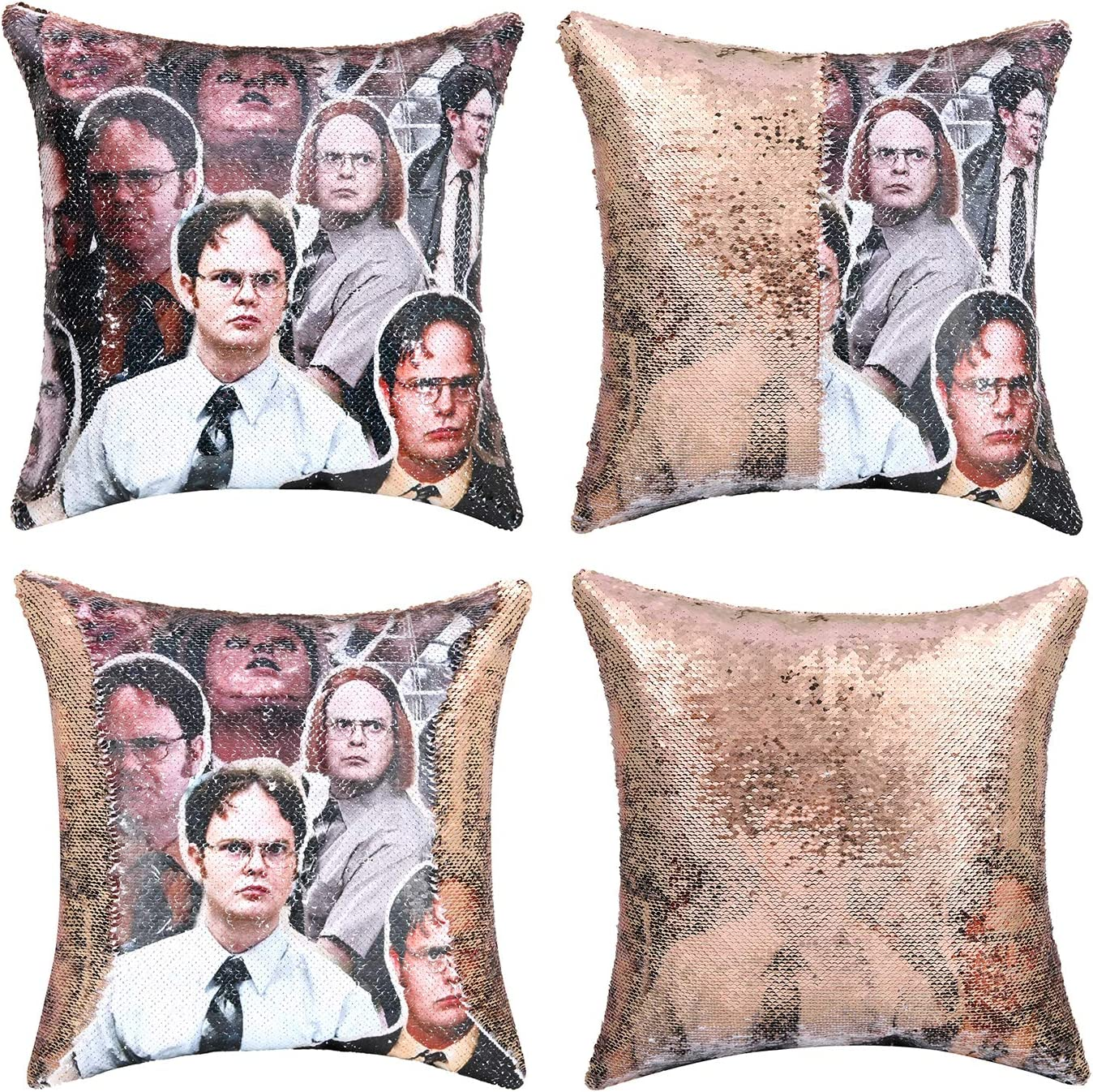 cygnus The Office Dwight Schrute Sequin Pillow Cover Reversible Throw Pillowcase 16x16 inch for Home Couch Decor
