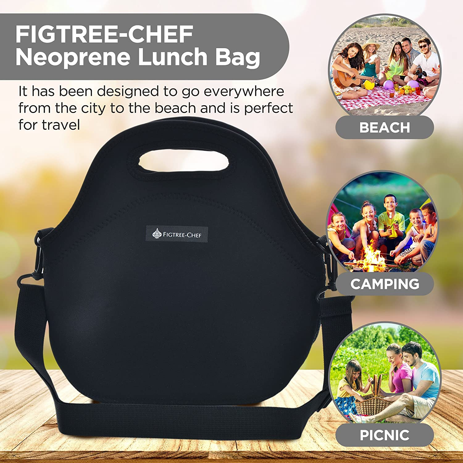 188d68c010ff FIGTREE-CHEF Neoprene Lunch Bag for Women - Extra Thick with Shoulder Strap  - Ideal for Work, School and Travel 11.5 x 12 x 6.5 ins (Black)