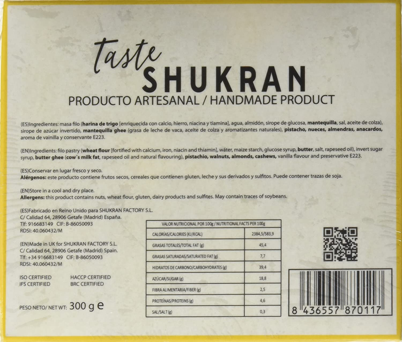 Taste Shukran Baklava - 2 Paquetes de 300 gr - Total: 600 gr: Amazon.es: Alimentación y bebidas