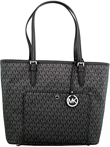 d724865c3bbe Amazon.com  Michael Kors Jet Set Signature Tote - Black  Michael Kors  Shoes