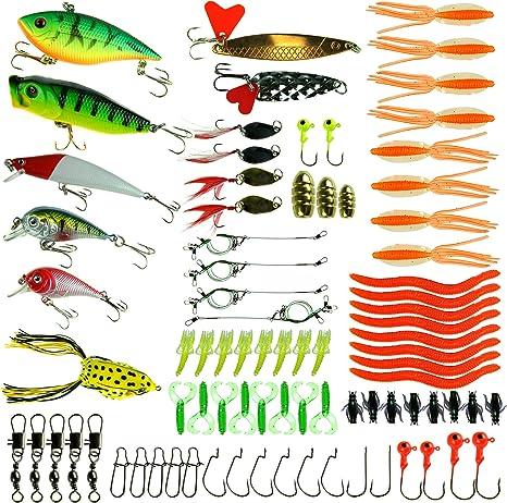 100 pcs/lot Kit de equipo de pesca señuelo suave cebos señuelo de ...