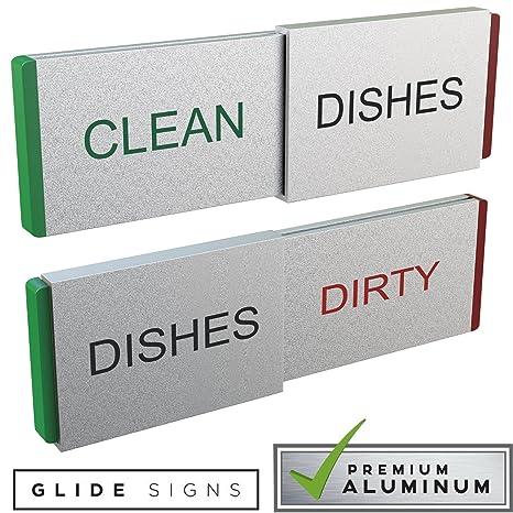 Glide Signs Dishwasher Magnet Clean Dirty Sign   Premium Metal Magnetic  Dishes Indicator Improved Slider Locks