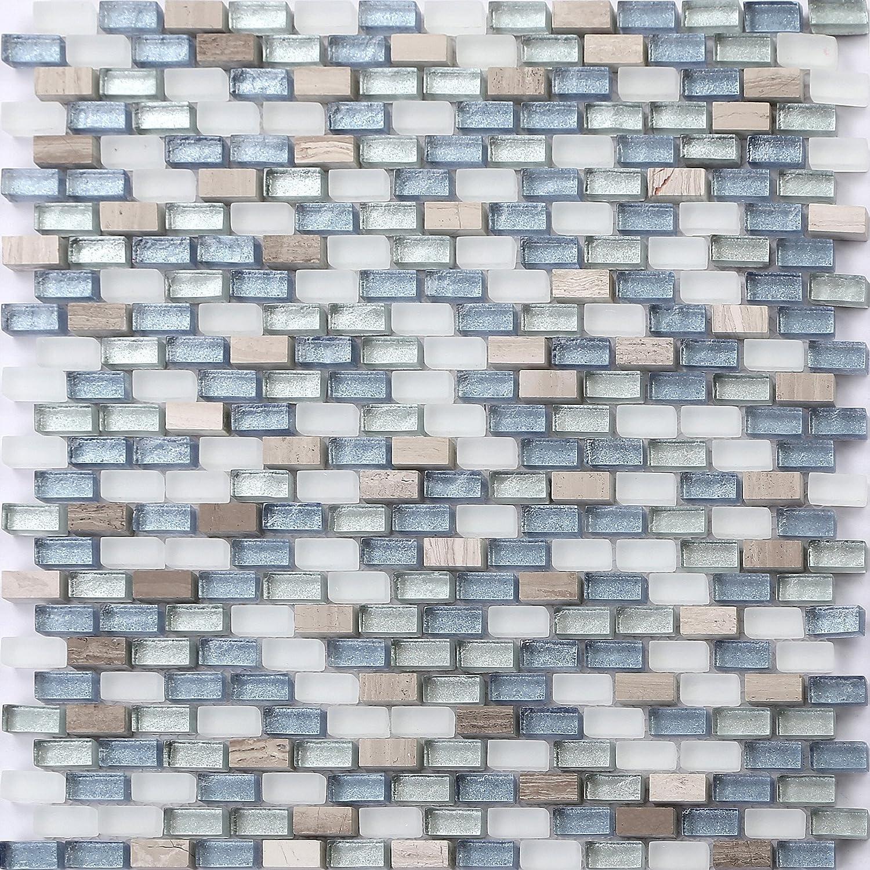 1qm Glas und Naturstein Mosaik Fliesen Matte Weiß MT0125 m2 Blau und Silber