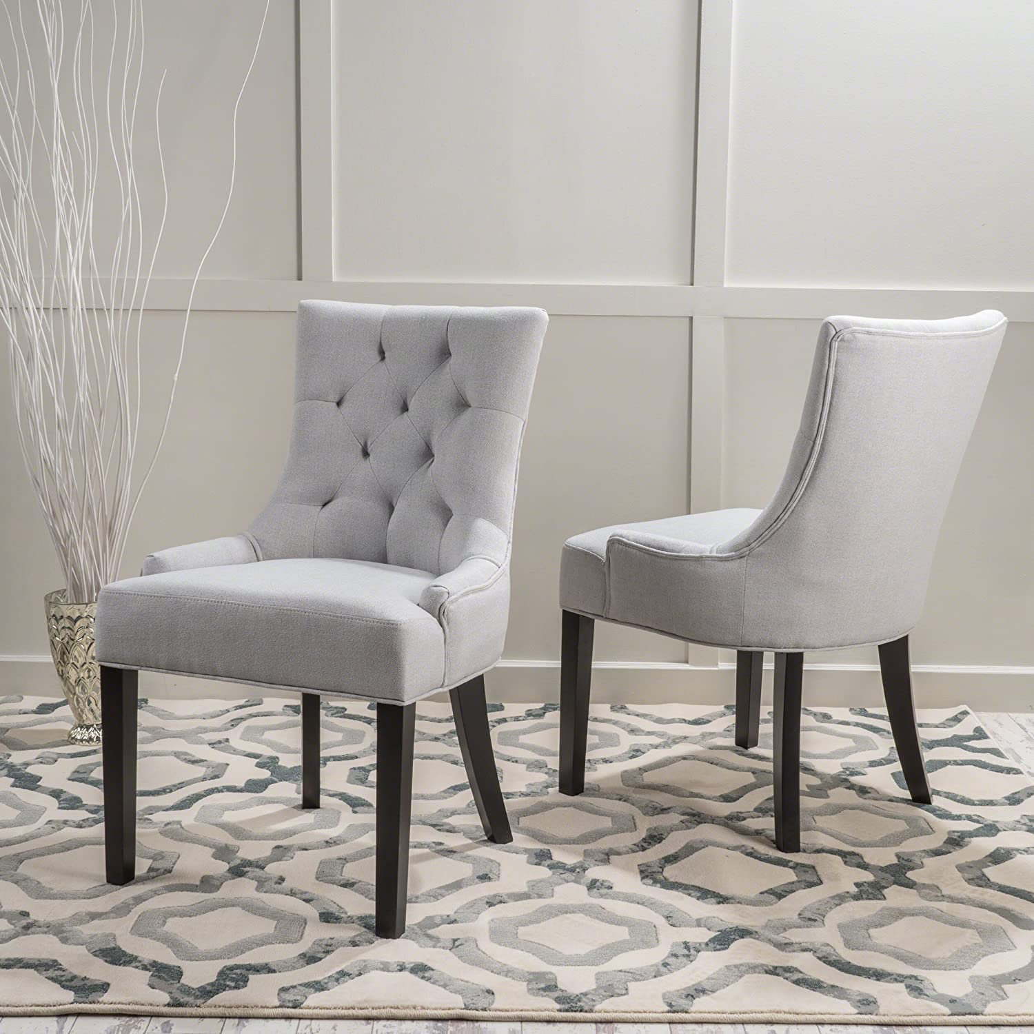 Amazon.com   Christopher Knight Home 299538 Hayden Fabric Dining Chairs  (Set Of 2), Light Gray   Chairs