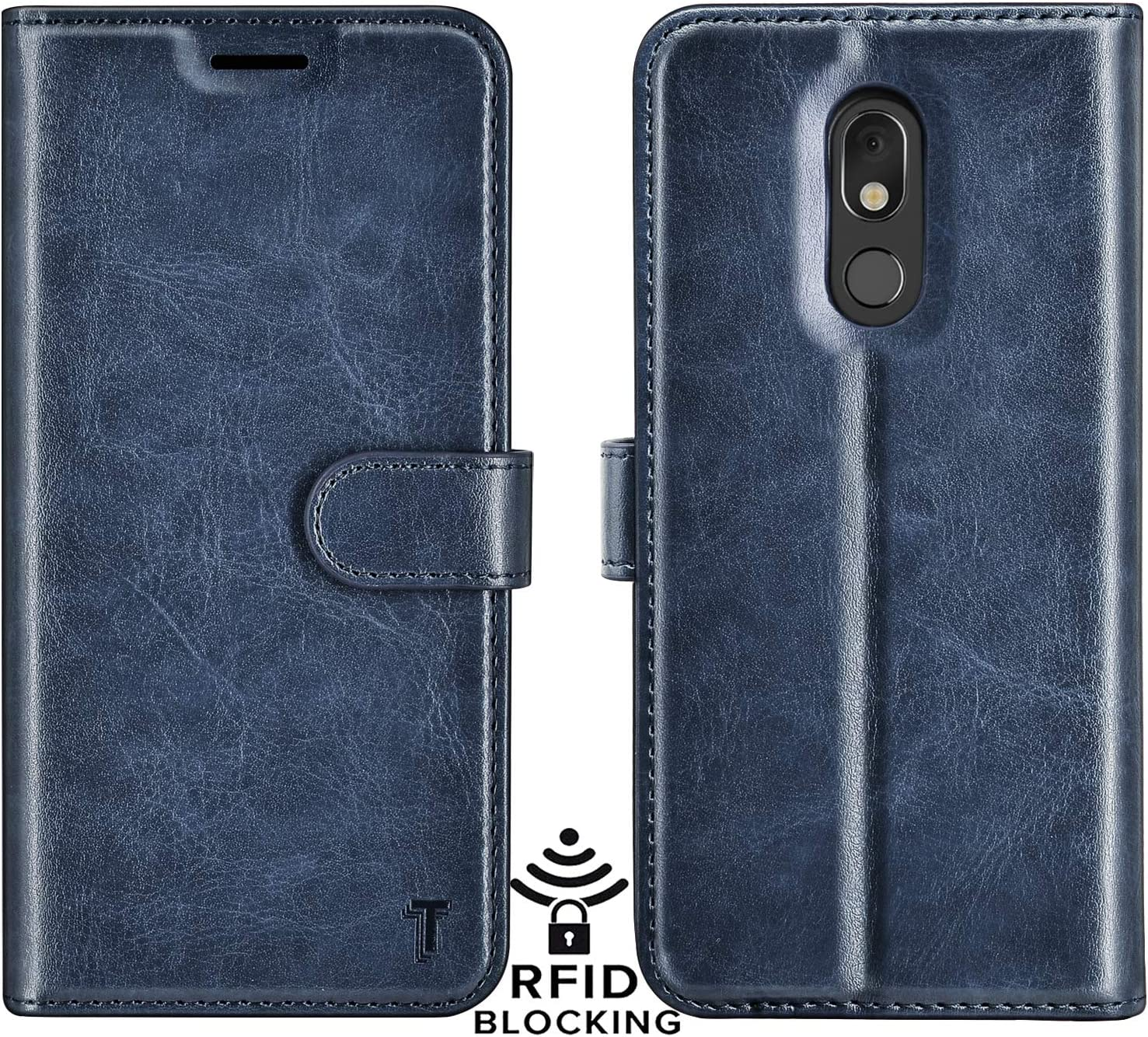 Njjex LG Stylo 5 Case, LG Stylo 5 Wallet Case, Stylo 5V/Stylo 5X/Stylo 5 Plus Case, RFID Blocking PU Leather Folio Flip ID Credit Card Slots Holder [Kickstand] Magnetic Closure Phone Cover [Dark Blue]