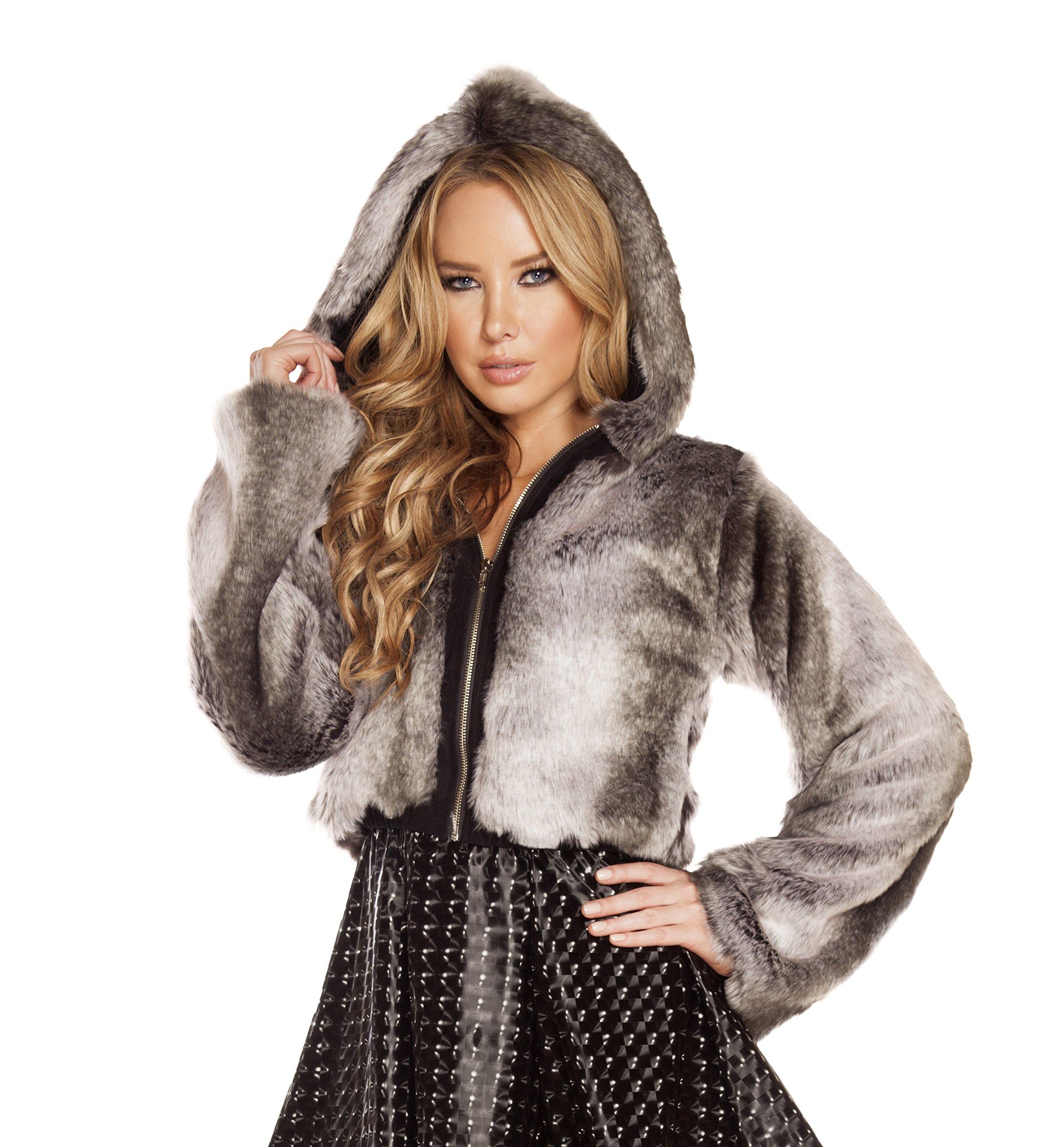 J. Valentine Women's Chinchilla Faux Fur Cropped Jacket, Grey, One Size by J. Valentine