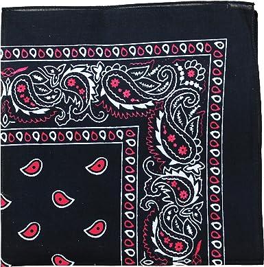 2 unidades de bandana mecánica 100% algodón de 22 x 22 pulgadas – Paisley y colores sólidos disponibles (cachemira negro y rojo): Amazon.es: Ropa y accesorios