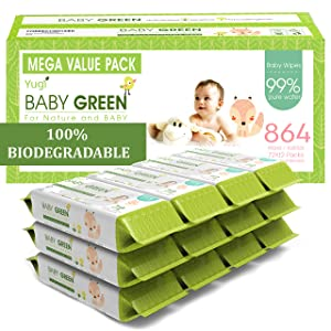 Baby Green Biodegradable Baby Wipes Unscented – Value Pack (12 Packs of 72) 864 – 99% Pure Water Plastic FREE Moist Newborn Diaper Wipes Fragrance Free, Wet Wipe for Babies & Adults Sensitive Skin